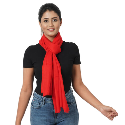 100% Cashmere Wool Red Colour Scarf (Size 190x70 Cm)