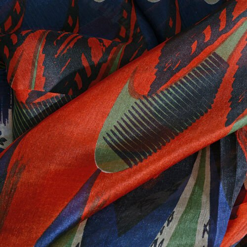 100% Mulberry Silk Red, Blue and Multi Colour Handscreen Printed Scarf (Size 200X100 Cm)