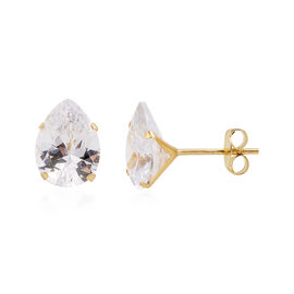 One Time Close Out Deal- 9K Yellow Gold AAA Simulated Diamond (Pear) Stud Earrings (with Push Back)