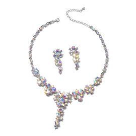 2 Piece Set - Simulated Mercury Mystic Topaz (Ovl), Simulated Mystic White Crystal Necklace (Size 20