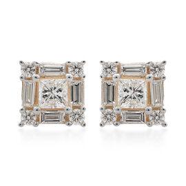 ILIANA 18K Yellow Gold IGI Certified Diamond (Princess Cut) (SI- G-H) Stud Earrings (with Screw Back) 1.000 Ct.