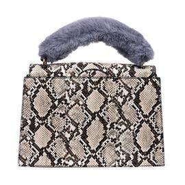 Inyati Olivia Handbag with Removable Faux Fur Handle (Size 20x24x11 Cm) - Beige
