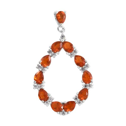 WEBEX- Jalisco Fire Opal (Pear), Natural Cambodian Zircon Pendant in Platinum Overlay Sterling Silver 1.500 Ct.
