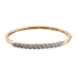 Diamond (Bgt) Bangle (Size 7.5) in 14K Gold Overlay Sterling Silver   1.000 Ct, Silver wt 15.21 Gms,