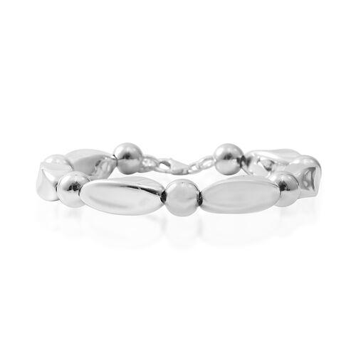 Designer Inspired-Rhodium Overlay Sterling Silver Bracelet (Size 7.25 Adjustable), Silver wt 19.75 Gms.