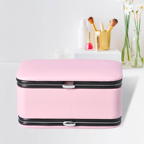 2 in 1 - Six Piece Manicure Set and Travel Jewellery Organiser with Inside Mirror (Size 11.7x7.5x6.5cm) - Pink