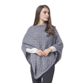Designer Inspired Knitted Grey Flap Collar Cape (One Size)