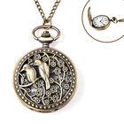 STRADA Japanese Movement Bird Pattern Pocket Watch with Chain (Size 31) in Antique Bronze Tone