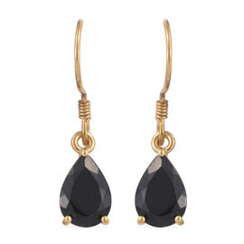 Black Tourmaline (Pear) Hook Earrings in 14K Gold Overlay Sterling Silver 4.000 Ct.
