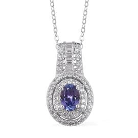 Tanzanite (Ovl), Natural Cambodian White Zircon Pendant With Chain in Rhodium Overlay Sterling Silver 1.870 Ct.