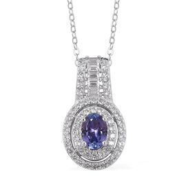 Tanzanite (Ovl), Natural Cambodian White Zircon Pendant With Chain in Rhodium Overlay Sterling Silve