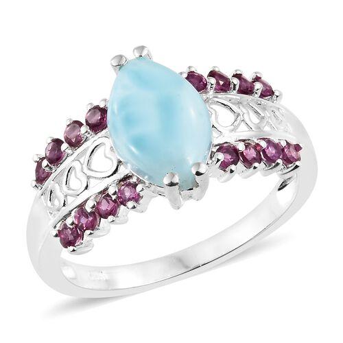 Larimar (Mrq 3.15 Ct), Purple Garnet Ring in Sterling Silver 3.750 Ct.