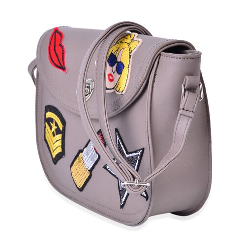 Multi Colour Lip, Star, Fashionable Girl and Lipstick Pattern Grey Colour Crossbody Bag with Adjustable Shoulder Strap (Size 26x22x18x6 Cm)