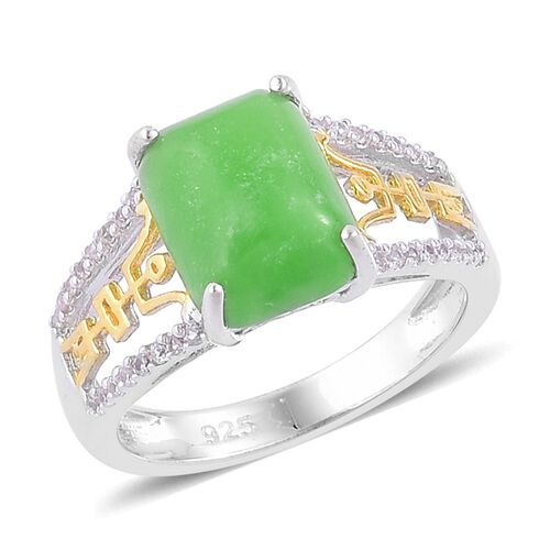 Green Jade (Oct 3.75 Ct), White Zircon Chinese Symbol Longevity Ring in Yellow Gold Overlay and Sterling Silver 4.000 Ct.