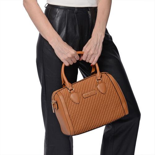 LOCK SOUL Tan Colour Corn Grain Textured Satchel Bag with Detachable Shoulder Strap (Size 28x15x21 Cm)