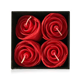 Set of 4 - Red Rose Candle in Gift Box (Size 4.5x3 Cm)