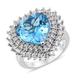 TJC Launch - Marambaia Topaz (Hrt 11.00 Ct), Natural Cambodian Zircon Ring in Platinum Overlay Sterl