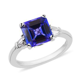 RHAPSODY 950 Platinum AAAA Tanzanite (Asscher Cut 8x8mm), Diamond Ring 3.15 Ct.