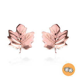 Maple Leaf Earrings for Kids in Rose Gold Plated Silver