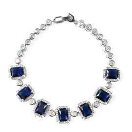 Simulated Blue Sapphire and Simulated Diamond Bracelet 7.5 Inch