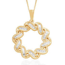0.33 Carat Cluster Circle Pendant with Chain in Gold Plated Sterling Silver 5.02 Grams