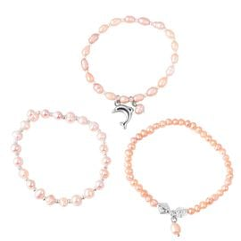 Set of 3 - Freshwater Peach Pearl Stretchable Bead Bracelet with Charm (Size 7)