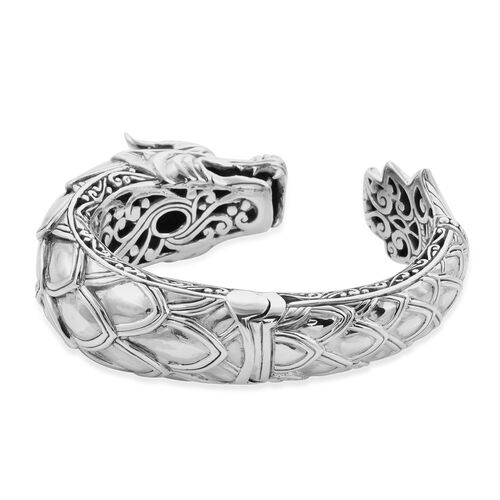 Royal Bali Collection - Russian Diopside Dragon Hinged Cuff Bangle (Size 7.5) in Sterling Silver, Silver wt 97.00 Gms