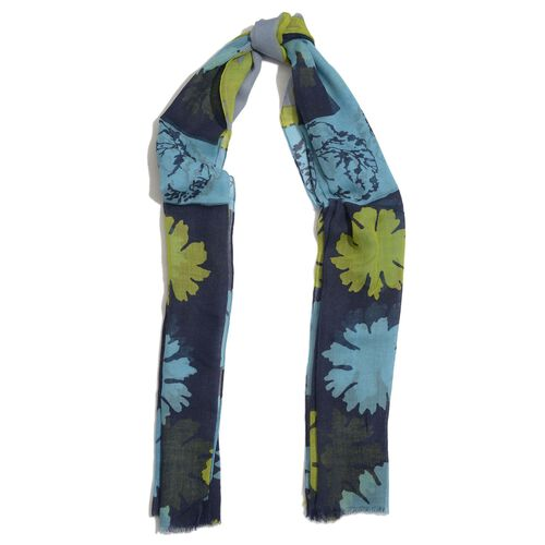 100%  Merino Wool Floral Pattern Blue, Turquoise and Multi Colour Scarf (Size 180x100 Cm)