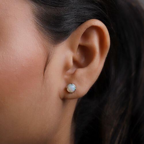 RHAPSODY 950 Platinum AAAA Ethiopian Welo Opal Stud Earrings (with Screw Back) 1.00 Ct.