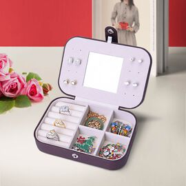 Portable and Lightweight Jewellery Organiser with Button Closure and Inside Mirror in Chocolate Colo