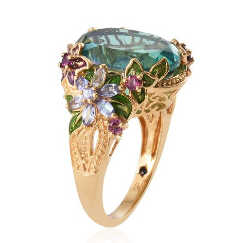 GP Peacock Quartz (Ovl 13.00 Ct), Tanzanite, Rhodolite Garnet and Kanchanaburi Blue Sapphire Ring in 14K Gold and Platinum Overlay with Enamelling Sterling Silver 14.540 Ct, Silver wt 8.1 Gms.