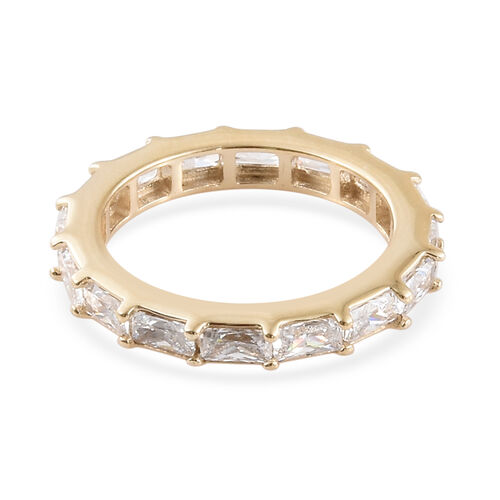J Francis - 9K Yellow Gold (Bgt) Full Eternity Band Ring Made with SWAROVSKI ZIRCONIA