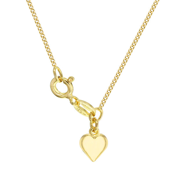 Yellow Gold Overlay Sterling Silver Curb Chain (Size 18) with Heart Charm