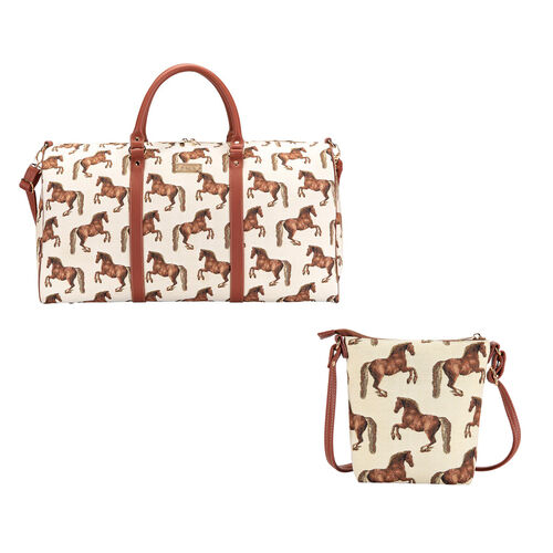Signare Tapestry - 2 Piece Set - Whistlejacket Travel Bag (56X29X33cm) and Sling Bag (56X29X33cm) in