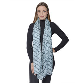 New Collection- 100% Mulberry Silk Skull Pattern Scarf (Size 180x110Cm) - Blue