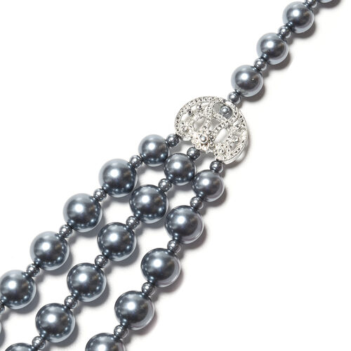 Simulated Grey Pearl Multi Strand Necklace (Size 20 with 3 inch Extender)