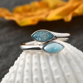 Sajan Silver ILLUMINATION Collection - Larimar and Drusy Pariba Hollow Ring in Rhodium Overlay Sterling Silver 1.40 Ct.