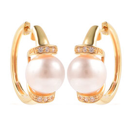 Edison Pearl and Natural Cambodian Zircon Earrings in Yellow Gold Overlay Sterling Silver, Silver wt