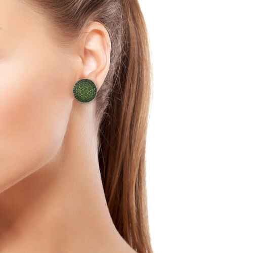 Russian Diopside (Rnd), Stud Earrings (With Push Back) in Platinum and Black Overlay Sterling Silver 4.000 Ct, Silver wt 7.65 Gms, No. Of Gemstone 250.
