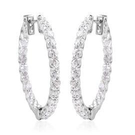 Lustro Stella Simulated Diamond Hoop Earrings in Rhodium Plated Silver