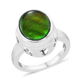 3 Carat AA Canadian Ammolite Solitaire Ring in Platinum Plated Sterling Silver