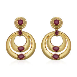 4.65 Ct Burmese and African Ruby Circle Drop Earrings in Gold Plated Sterling Silver