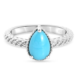 Arizona Sleeping Beauty Turquoise Solitaire Ring in Platinum Overlay Sterling Silver 1.13 Ct.