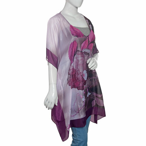 New Season- Purple and Multi Colour Floral Printed Kaftan (Size 90x65 Cm)