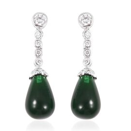 Simulated Emerald and Simulated Diamond Drop Earrings in Silver Plated