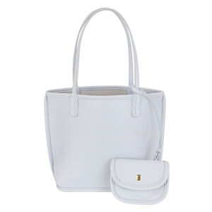 3 Piece Set - Kris Ana Reversible Tote Bag, Clutch Bag & Coin Purse - Blue and Light Grey (Navigation Fashion Accessories Handbags) photo