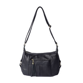 Super Soft 100% Genuine Leather  Black Multi Compartment Crossbody Bag with Tassel and Adjustable St