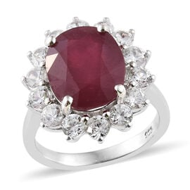 One Time Deal - African Ruby (Ovl 6.85 Ct), Natural Cambodian Zircon Ring in Platinum Overlay Sterli