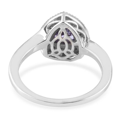 Tanzanite (Trl), Natural Cambodian Zircon Ring in Platinum Overlay Sterling Silver