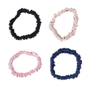 Set of 4 - 100% Mulberry Silk Scrunchies in Black, Pink, Navy and Champagne (Diameter 6.5Cm)